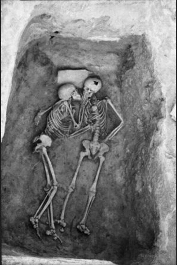 From a site called Hasanlu. Hiding from enemies, they may have asphyxiated from a fire.