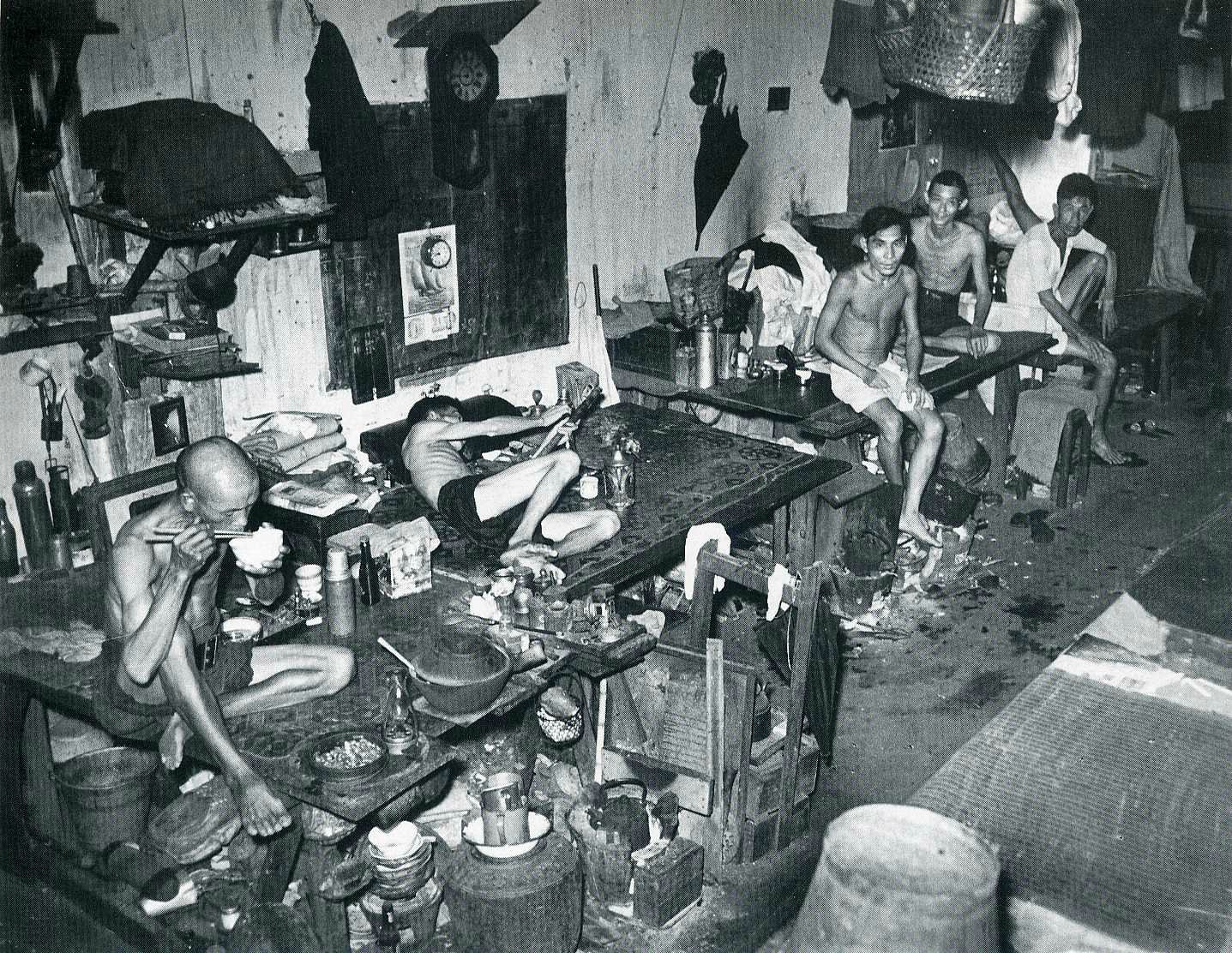 An opium den in Singapore (1941)